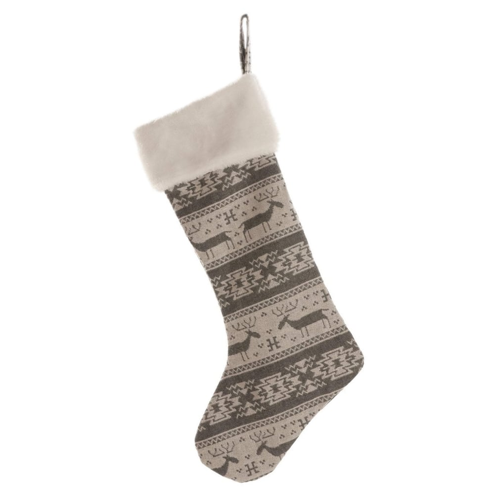 Home Decor Nordic Reindeer Christmas Stocking - 56cm from Pines and Needles