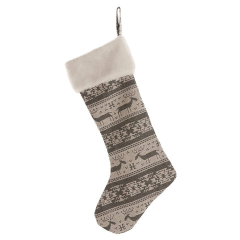 Home Decor Nordic Reindeer Christmas Stocking - 56cm