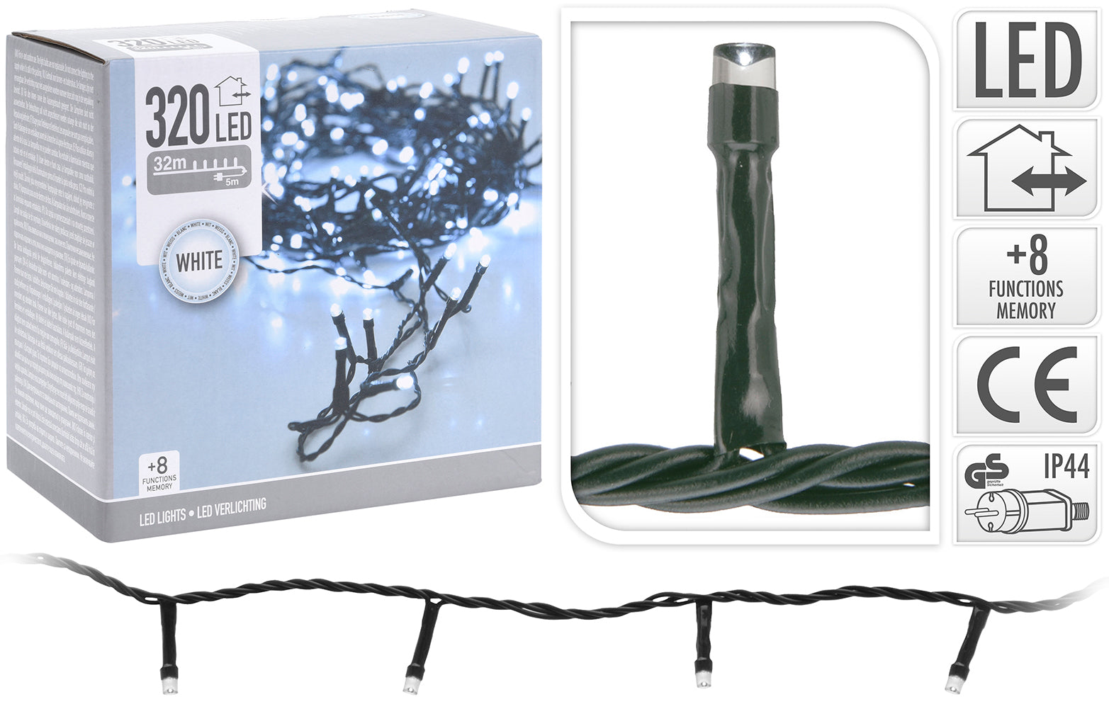 320 Ice White LED Christmas Tree Lights