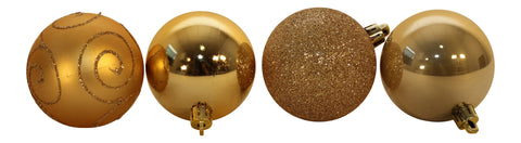 Multi Finish Baubles Champagne Gold, Set of 24