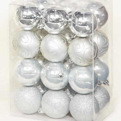 Multi Finish Baubles Silver, Set of 24