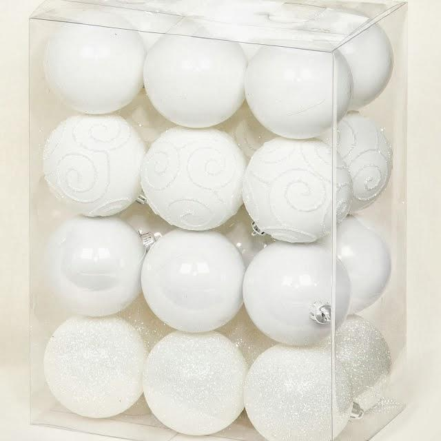 Multi Finish Baubles White, Set of 24