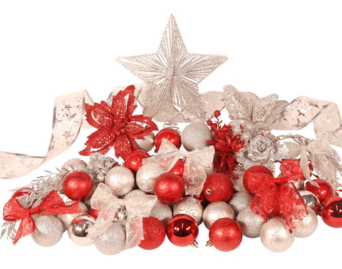9ft Red and Silver Festive Christmas Tree Decoration Set from Pines and Needles