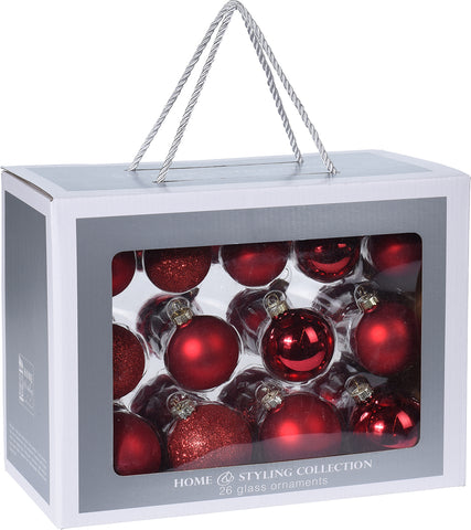 Red Christmas Decoration Pack, 26 Piece
