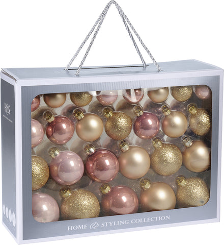 Rose Gold Glass Christmas Decoration Pack, 52 Piece