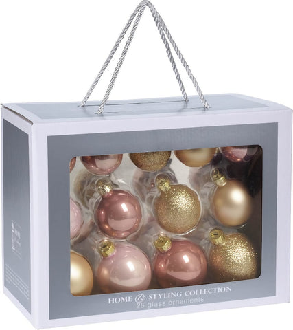 Rose Gold Glass Christmas Decorations