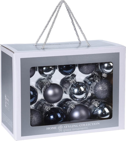 Silver & Dark Blue Glass Christmas Decoration Pack, 24 Piece