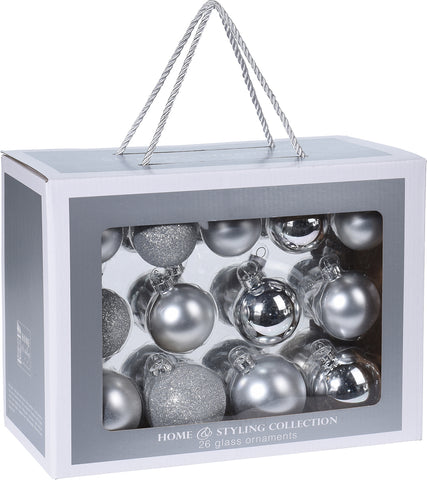 Silver Christmas Decoration Pack, 26 Piece