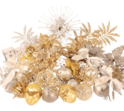 10ft Deluxe Christmas Decoration Set in Gold and Silver from Pines and Needles