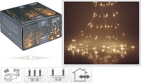200 Copper Wire Cascade LED Lights