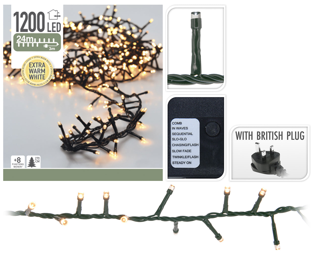 1200 Warm White Sparkle Christmas Lights