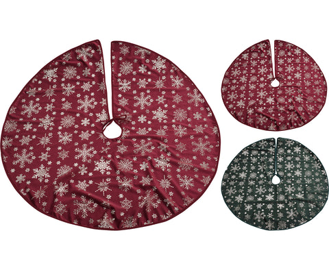 Red or Green Winter Snowflake Tree Skirt
