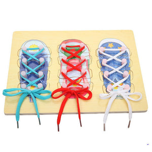 Montessori New Arrival Wooden Toys 30*22cm High Quality Children Learn Tie Shoes Learning & Education Toys