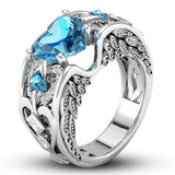SILVER BLUE HEART RING
