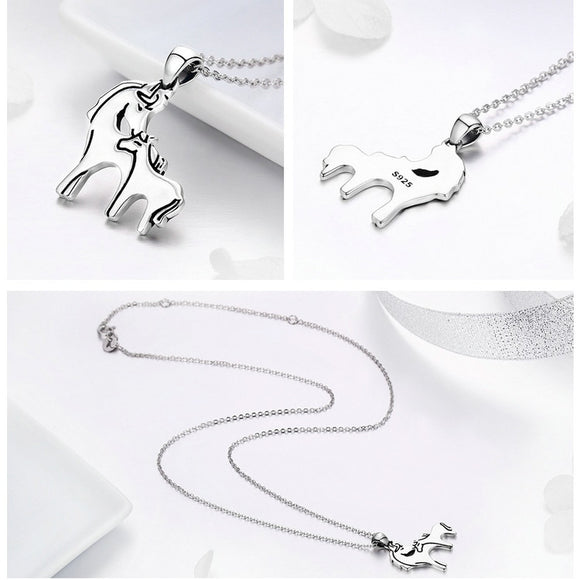 ADORABLE MOM & PONY IN STERLING SILVER