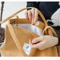High Capacity Women Corduroy Tote Ladies Casual Shoulder Bag Foldable Reusable Shopping Beach Bag WML99