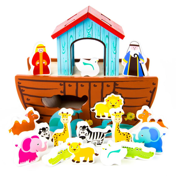 WOODEN NOAH'S ARK 18PCS