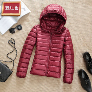 Ultra-light Plus Size Thin Down Jacket Women 2019 Autumn Winter Slim Short Hooded Warm White Duck Down Coat Women's Outerwear