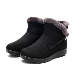 Women Snow Boots Warm Short Fur Plush Winter Ankle Boot Plus Size Platform Ladies Suede Zip Shoes Female Comfort Drop Shipping