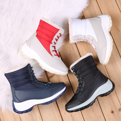 ASUMER 2020 new winter snow boots women round toe lace up ladies ankle boots mixed colors keep warm platform boots big size