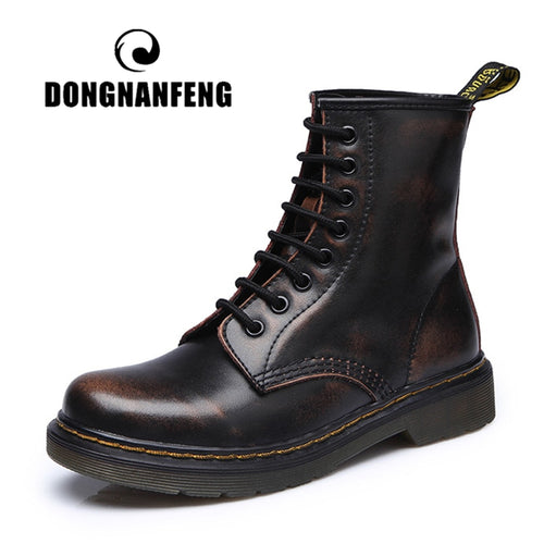 DONGNANFENG Women's Female ladies woman Ankle Boots Shoes Winter Spring Cow Genuine Leather Lace Up Shoes Punk Plus fur warm casual Riding Equestr Botas Mujer Plus Size 43 44 YDL-666