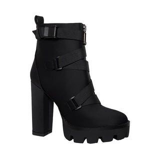 Platform Ankle Boots Women 12cm Thick Heel Platform Boots Ladies Worker Boots Black Big Size 43