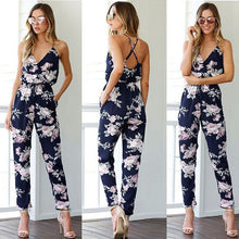 Jumpsuit Women Floral V-Neck Female Playsuit Sexy Ladies Sleeveless Clothes Woman Bodycon Print Jumpsuit Romper