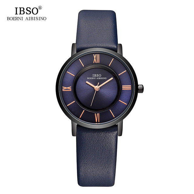 IBSO 7 MM Ultra-Thin Women Watches 2017 Genuine Leather Strap Fashion Blue Quartz Watch Women Luxury Ladies Watch Montre Femme