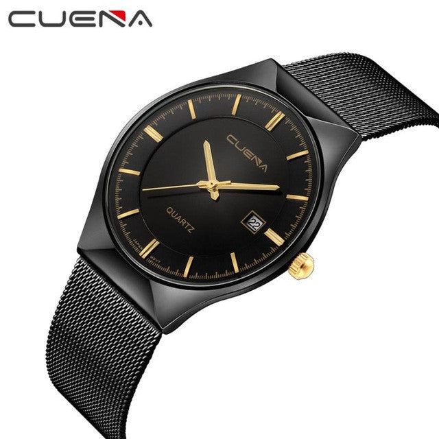 Relogio feminino 2017 Fashion Women Top Brand CUENA Stainless Steel Analog Date Quartz Wrist Watch For Men Horloges Mannen #XJ14