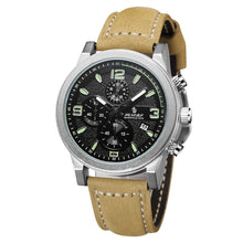 SENORS Men's Fashion Leather Stainless Steel Sport Quartz Wrist Watch Waterproof