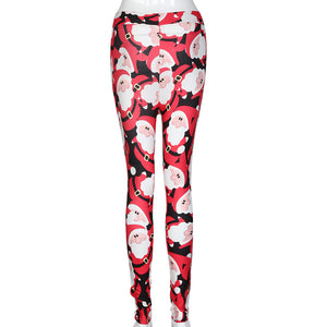 Fashion Women Christmas Skinny Printed Stretchy Pants Leggings