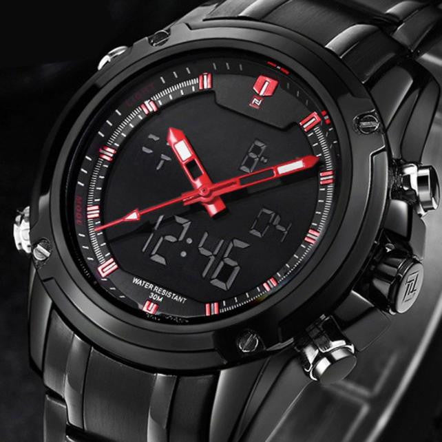 Military Sports Men's Dual-display Multi-function Stainless Steel Mens Watches