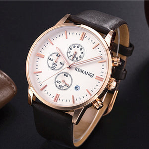 Leather Waterproof Date Quartz Watch Men's Quartz Wrist Watches