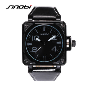 SINOBI fashion military sports waterproof leather men's watches