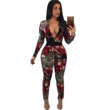 Tsuretobe Womens Printed Floral Jumpsuit Long Sleeve Night Club Party Overalls Front Zipper Skinny Bodycon Jumpsuits Female
