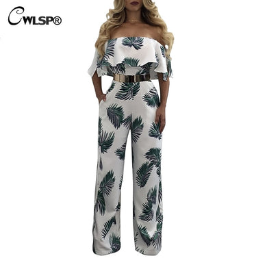 CWLSP Sexy Ruffles Jumpsuit For Women 2018 Fashion Summer Jumysuit With Print Floral Sheath Jumpsuit With Full Pants QZ2601