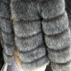 ZADORIN 2018 New Winter Coat Women Faux Fox Fur Coat Plus Size Women Stand Collar Long Sleeve Faux Fur Jacket Fur gilet fourrure