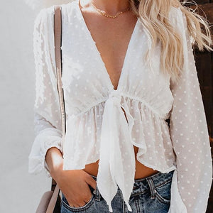 Blouse Women Sexy Transparent White Shirt Lantern
