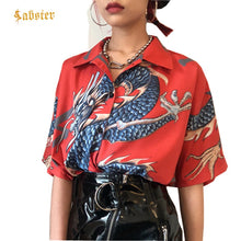 Summer Women Tops Harajuku Blouse Women Dragon Print