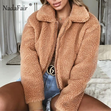 Nadafair Faux Fur Coat Women Autumn Winter Fluffy Teddy Jacket Coat Plus Size Long Sleeve Outerwear Turn Down Short Coat Female