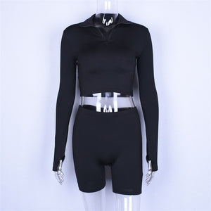 Long sleeve zipper high neck elastic sexy crop tops shorts 2-pieces