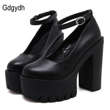 Casual high-heeled shoes sexy thick heels platform pumps Black White Size 42