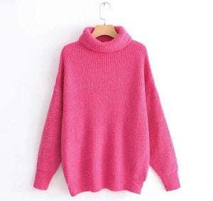 Winter Candy Color Oversized Turtleneck Sweater Hot pink Mustard Color Loose Knitted Jersey