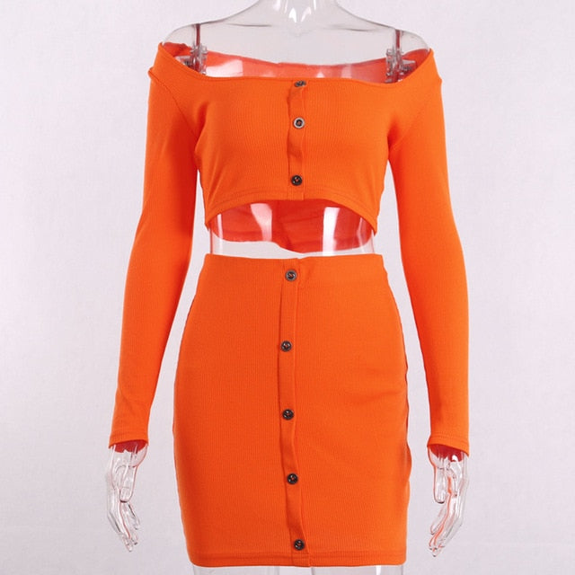 Cryptographic Fashion Outfits Bright Orange Women's Sets Buttons Long Sleeve Crop Tops Sexy Two Pieces Set Casual Bodycon Skirts