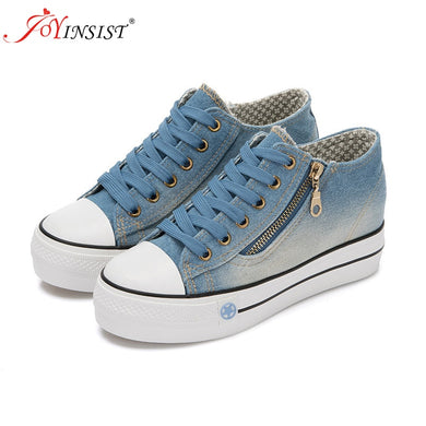 Spring Denim Canvas Shoes Female Korean Version Thick Bottom shoes