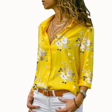 Women Tops Blouses Autumn Elegant Long Sleeve Print V-Neck