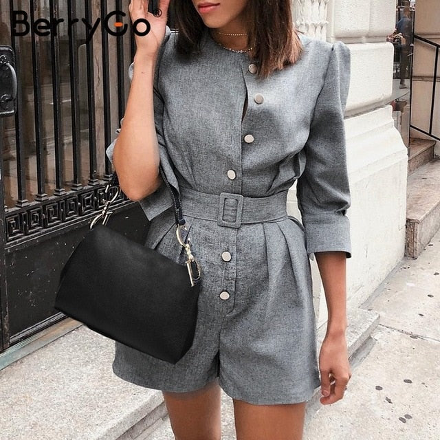 BerryGo Button blazer winter jumpsuit women overalls Office ladies jumpsuits rompers Female short one piece autumn work playsuit