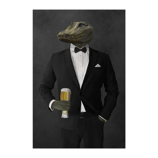 Alligator Drinking Beer Wall Art - Black Suit