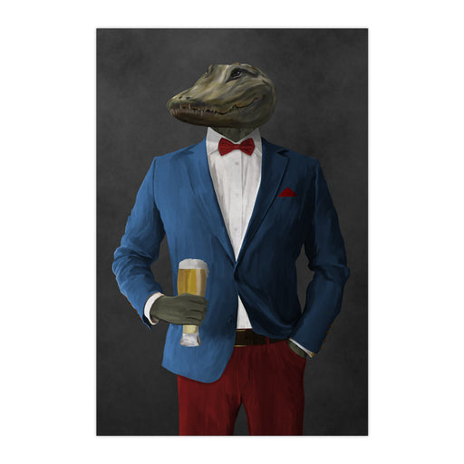 Alligator Drinking Beer Wall Art - Blue and Red Suit