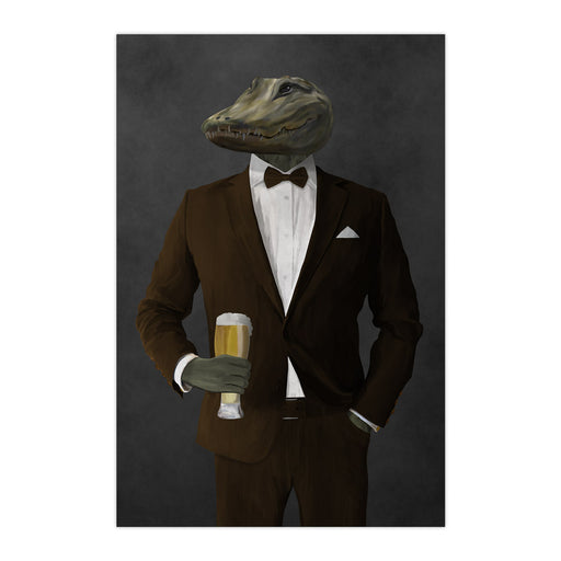 Alligator Drinking Beer Wall Art - Brown Suit